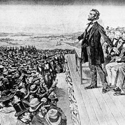This undated illustration depicts President Abraham Lincoln making his Gettysburg Address at the dedication of the Gettysburg National Cemetery on the battlefield at Gettysburg, Pa., Nov. 19, 1863.  The cemetery commemorates soldiers who died in the American Civil War Battle of Gettysburg in July.