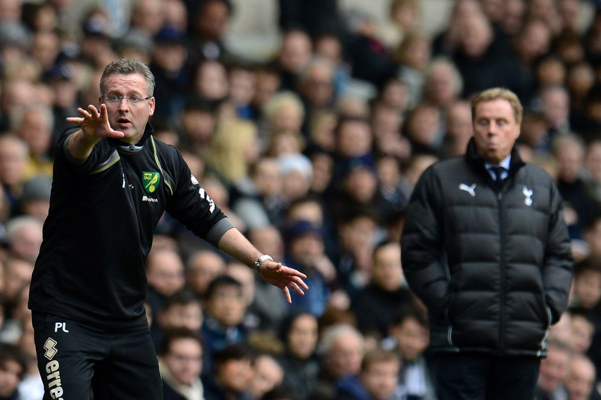 Manager Paul Lambert of Norwich City gives instructions during the Barclays Premier League match between Tottenham Hotspur and Norwich City at White Hart Lane in London, England.  (Photo by Shaun Botterill/Getty Images)