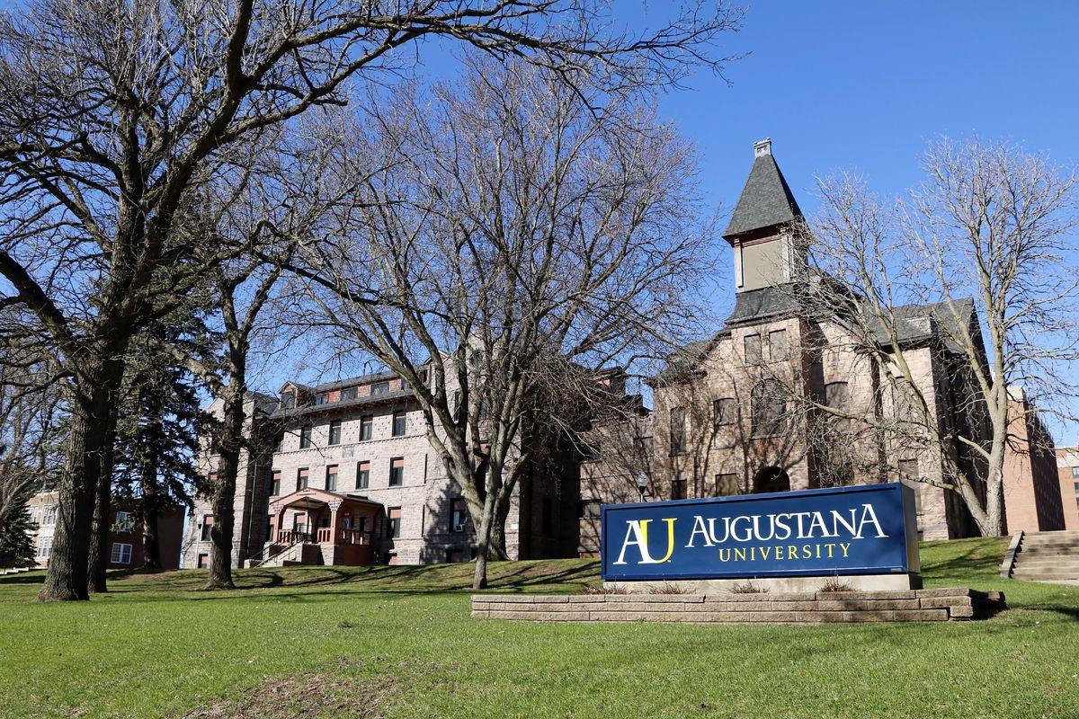 Augustana University identification sign in Sioux Falls South Dakota