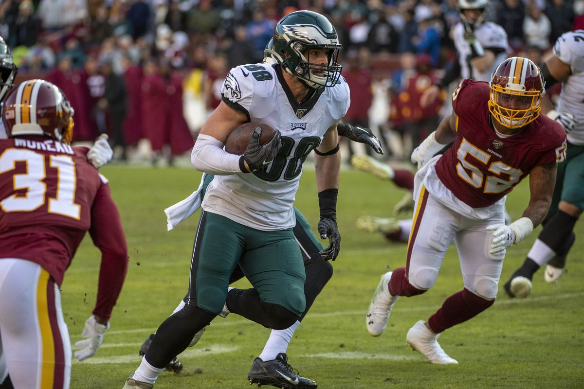 Philadelphia Eagles tight end Dallas Goedert runs after a catch against the Washington Redskins during the second half at FedExField.