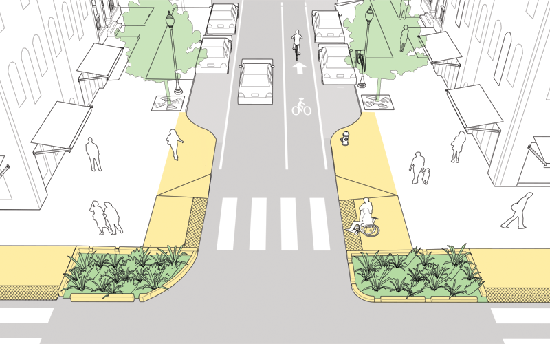 An illustration showing a redesigned intersection with an extended crosswalk that shortens the distance needed to walk.