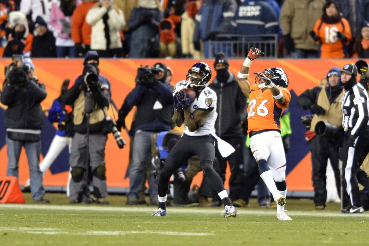 Ravens' WR Jacoby Jones catches a 70-yard touchdown pass to tie the game in the AFC Divisional Round in 2012/13.