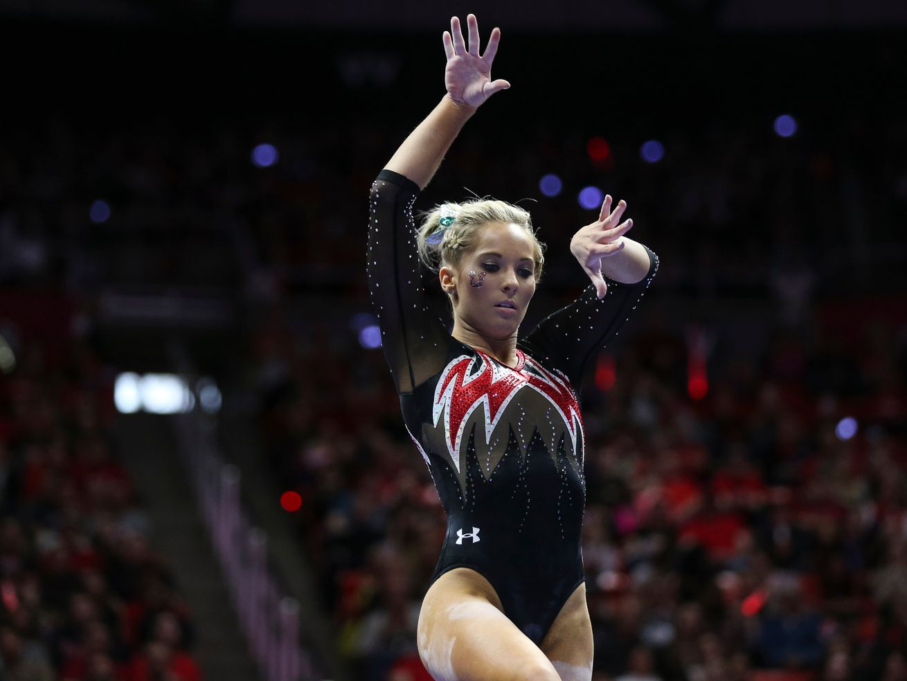 Utah's Mykayla Skinner competes on the beam during a meet against Washington at the Huntsman Center in Salt Lake City on Saturday, Feb. 3, 2018.