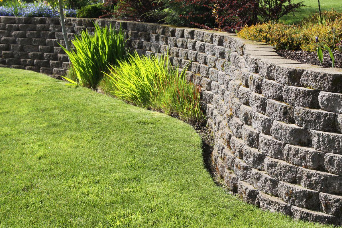 Retaining wall in yard.