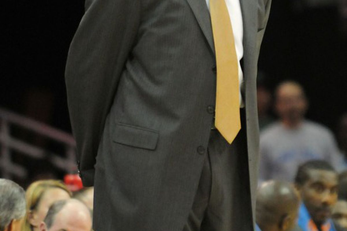 April 20, 2012; Cleveland, OH, USA: New York Knicks head coach Mike Woodson during the game against the Cleveland Cavaliers at Quicken Loans Arena.  Mandatory Credit: Eric P. Mull-USPRESSWIRE