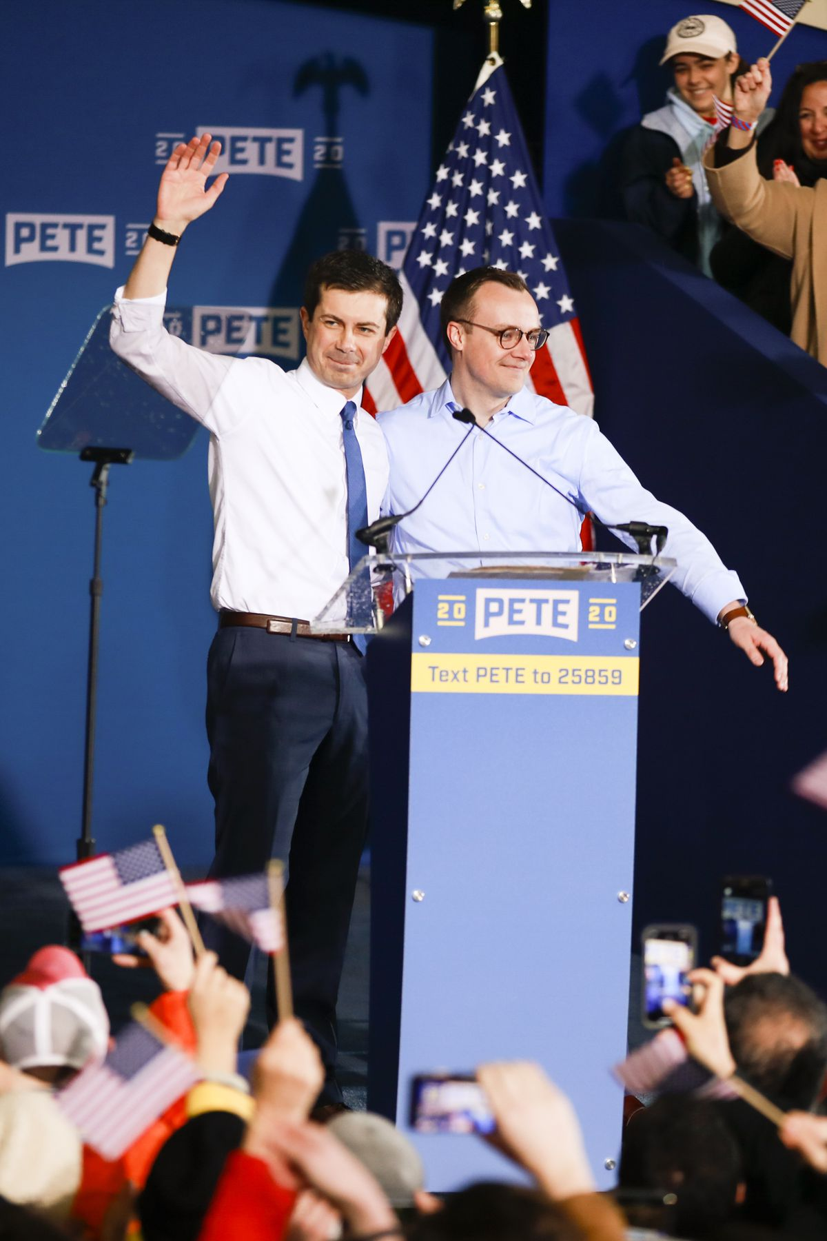 South Bend, Indiana Mayor Pete Buttigieg (left), with his husband Chasten, during a rally announcing his candidacy in South Bend, Indiana on April 14, 2019.