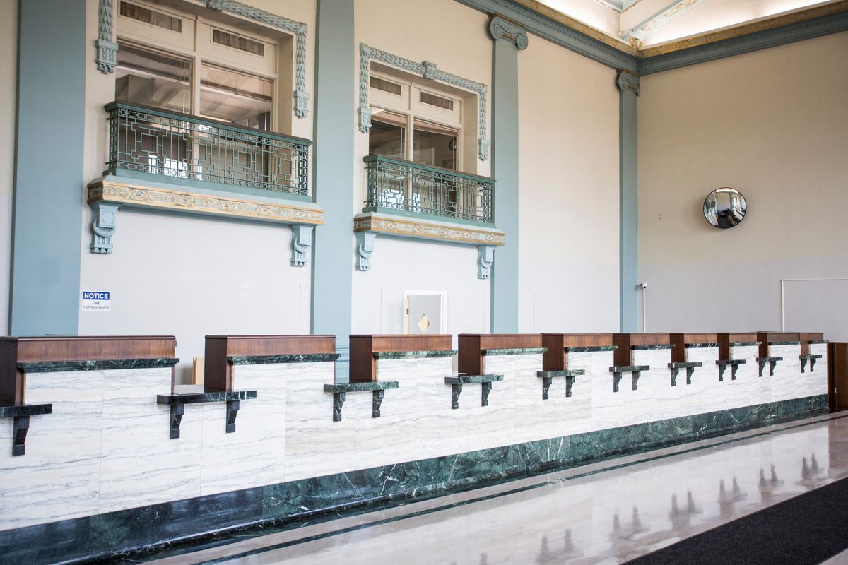 Teller windows remain in the former bank building that is now home to the Tolton Peace Center of the Catholic Charities of Chicago. The building that started its life as the National Bank of Austin can be visited this weekend as part of Open House Chicago