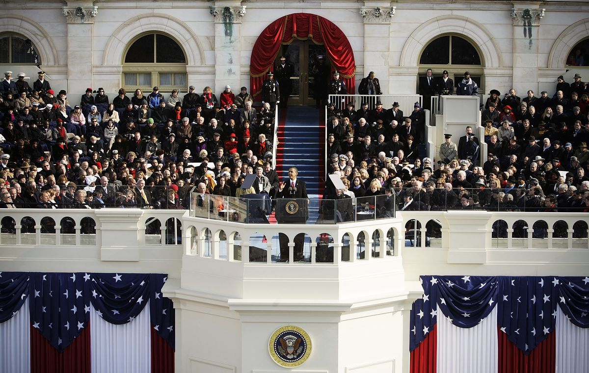 President Barack Obama gives his inaugural address on January 20, 2009.