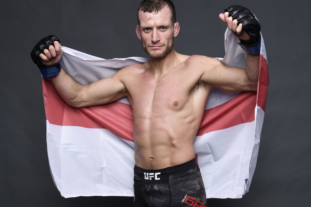Davey Grant of England poses for a portrait backstage after his victory during the UFC Fight Night event at CSKA Arena on November 09, 2019 in Moscow, Russia.