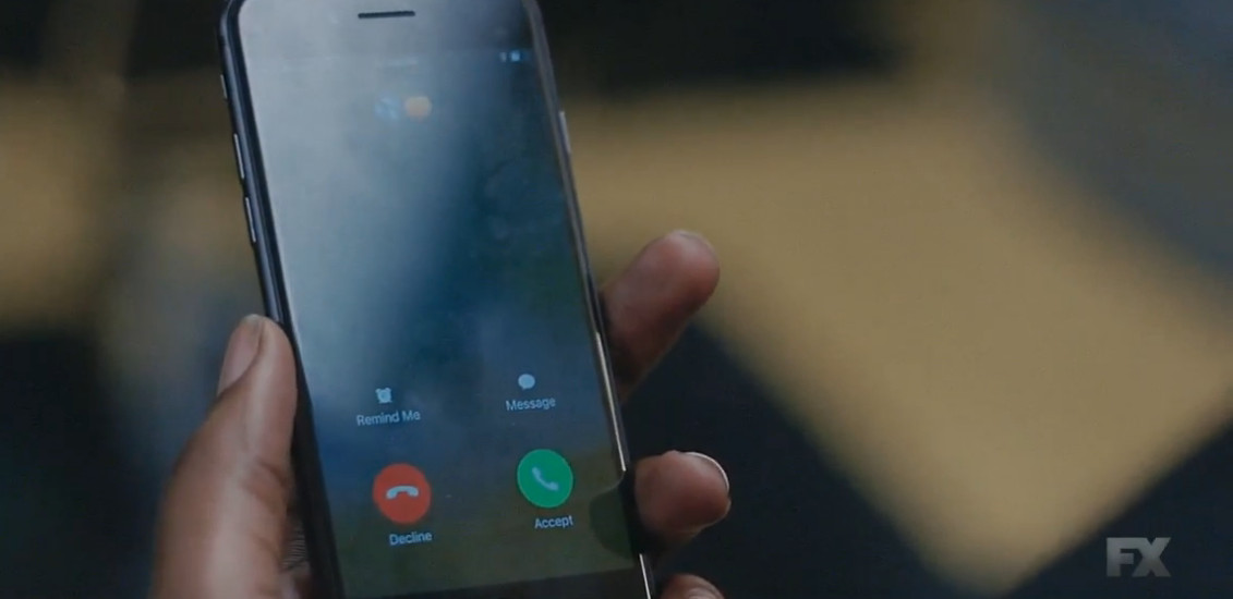 Screenshot of Bibby's phone, showing an incoming call from a contact displayed with a tears and a peach emoji