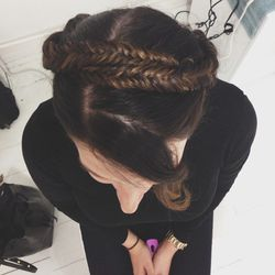 You really have to see it from the top too. It was a milkmaid-style braid, but done with fishtail pigtails instead of traditional plaits.