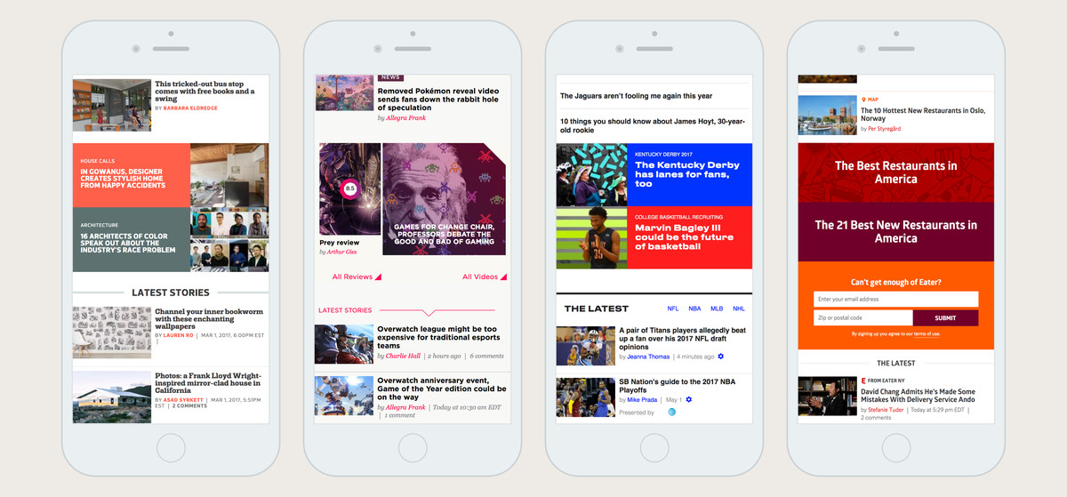Screenshots of Curbed, Polygon, SB Nation, and Eater