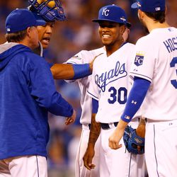 Yordano Ventura #30 of the Kansas City Royals reacts as he is taken out of the game by manager Ned Yost in the sixth inning while taking on the Toronto Blue Jays in game six of the 2015 MLB American League Championship Series at Kauffman Stadium on October 23, 2015 in Kansas City, Missouri.