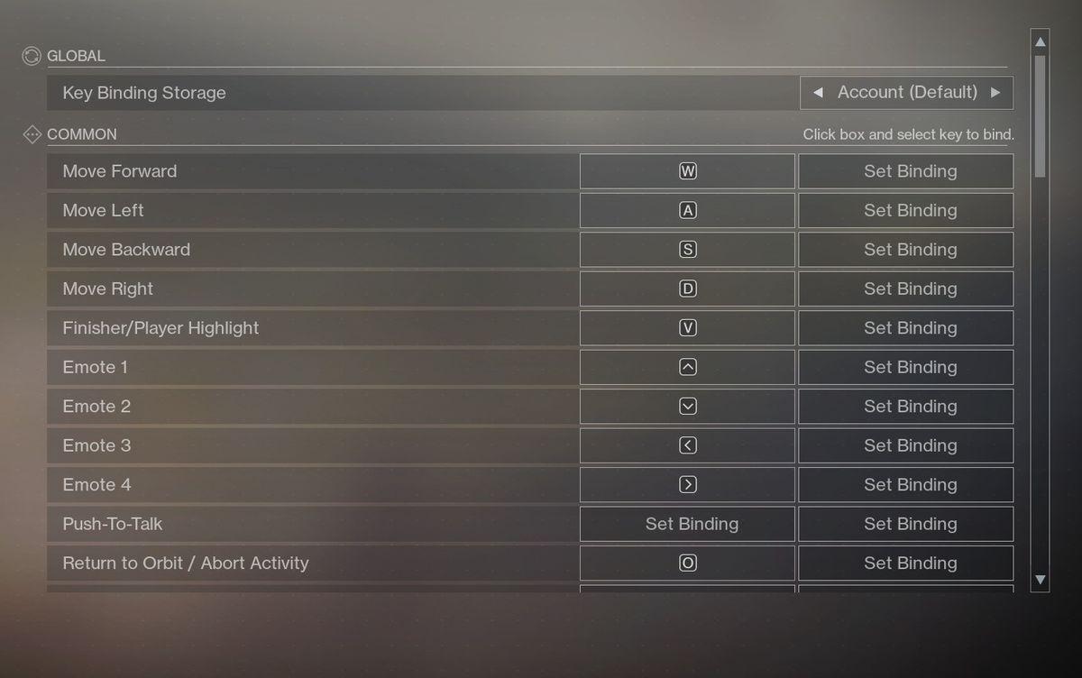 Destiny 2's PC controls menu