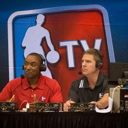 Isiah Thomas provides color during Detroit's Summer League games