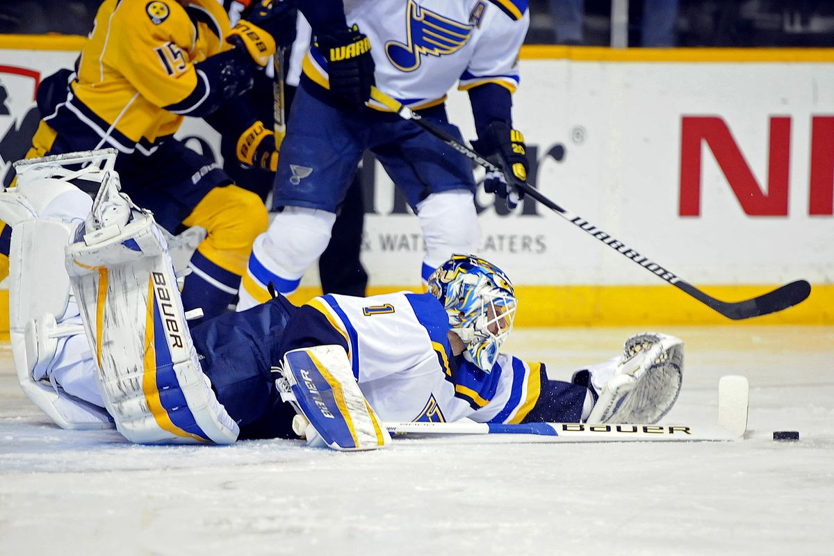 The Blues made Brian Elliott flounder quite a bit in Tuesday's loss.