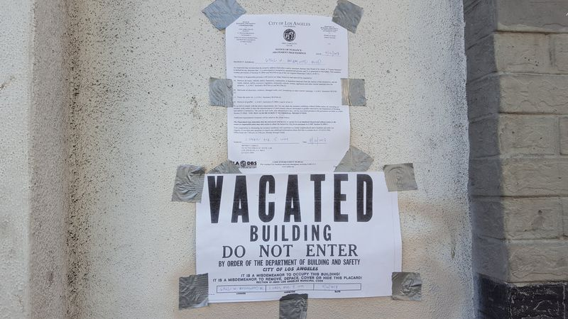 Vacated building sign