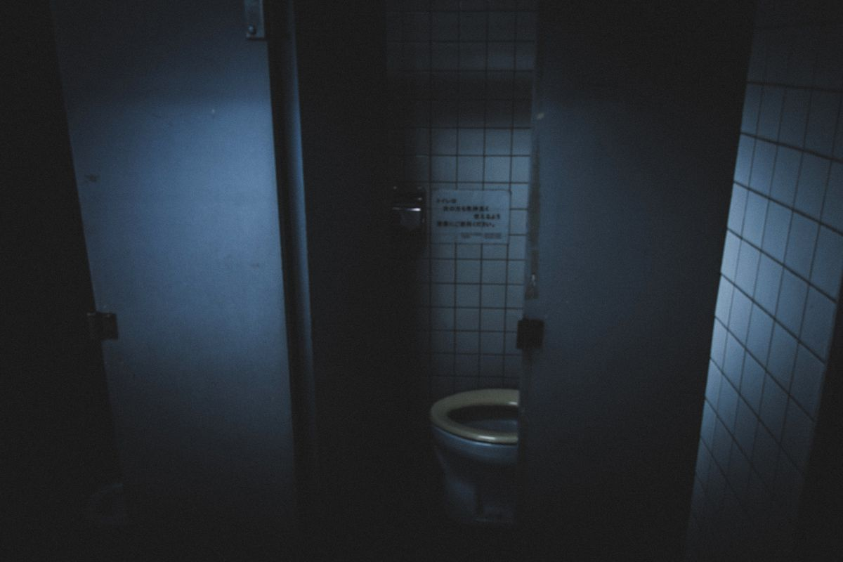 High angle view of toilet bowl in dark bathroom