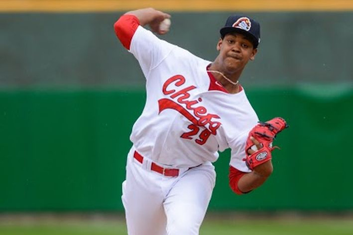 Memphis Redbirds RHP Alex Reyes, pitching for Peoria in 2014