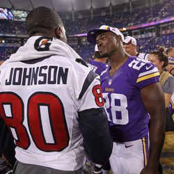 Aug 9, 2013; Minneapolis, MN, USA; Houston Texans wide receiver Andre Johnson (80) talks with Minnesota Vikings running back Adrian Peterson (28) following the game at the Metrodome. The Texans defeated the Vikings 27-13.