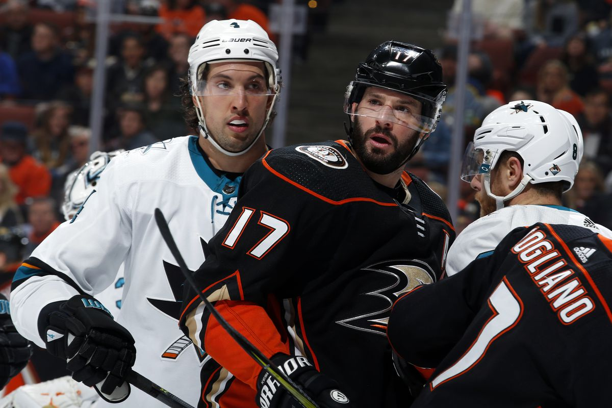 San Jose Sharks Chris Tierney 50 Takes A Shot Against Anaheim Ducks Kevin Bieksa 3 In The First Period Of An Nhl Round Playoff