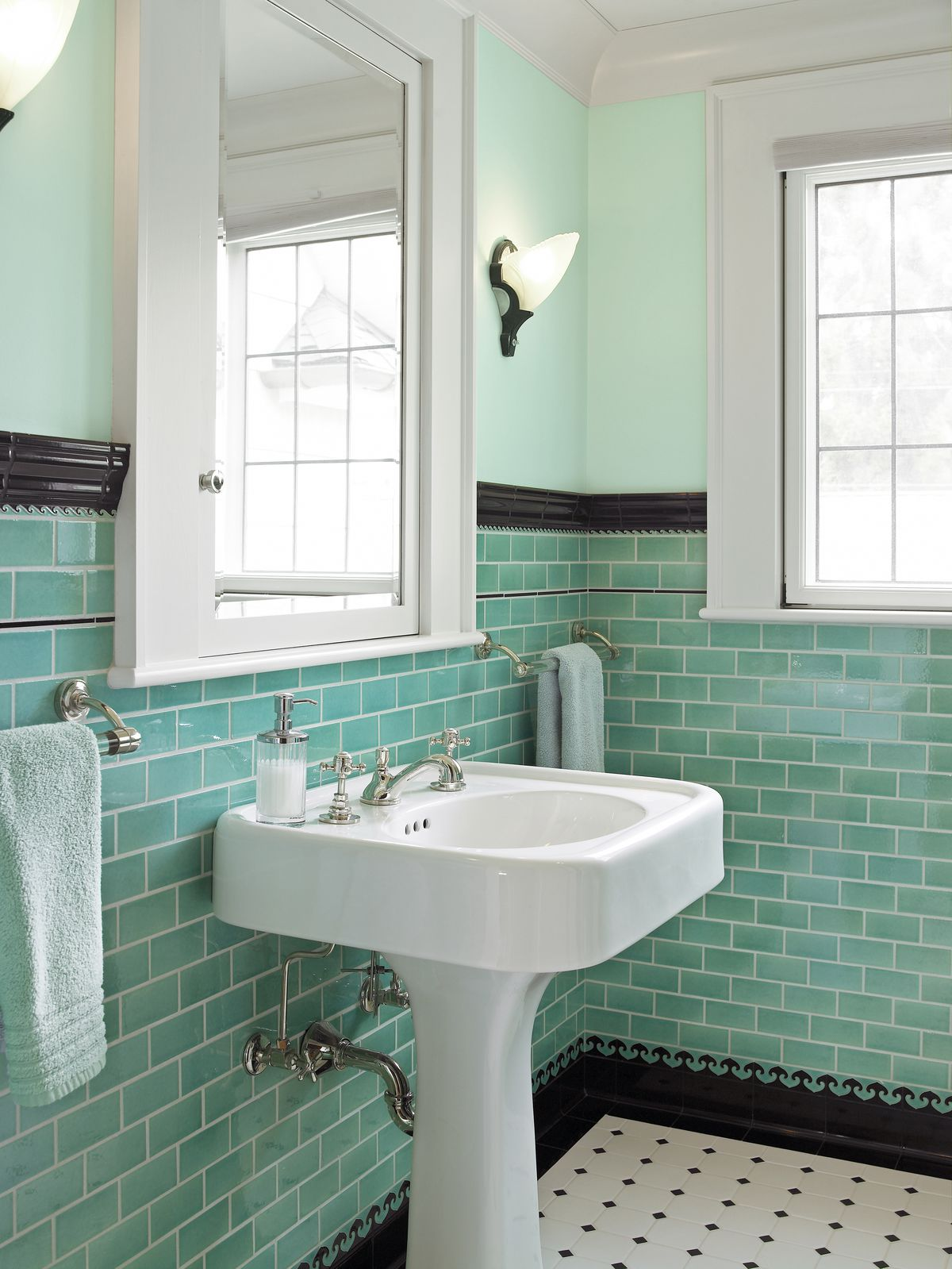 Contrasting Base And Cap Subway Tile In Bathroom
