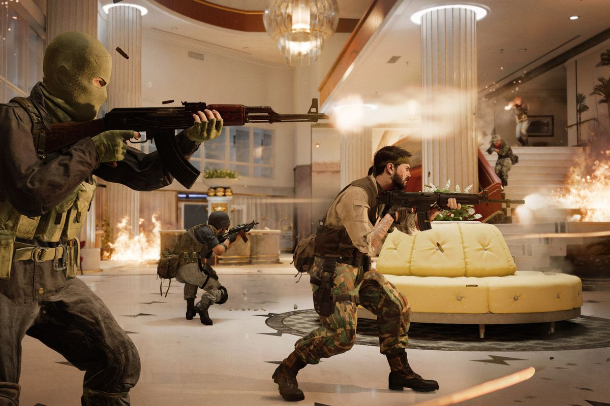 Several Call of Duty: Black Ops Cold War characters storm a hotel in Miami