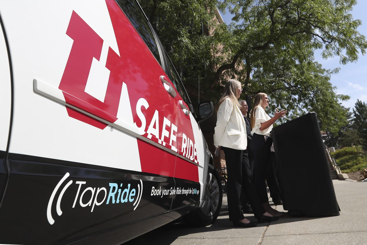 AnnaMarie Barnes, University of Utah student body president, speaks during the launch of a pilot program called SafeRide at the U. campus in Salt Lake City on Thursday, Aug. 22, 2019. SafeRide provides a safe and reliable mode of transportation on campus to ensure safety during night hours. The free service is available to the university community but is especially meant to serve students on campus at night who need a ride to a parking lot, to their housing area or to another building on campus.