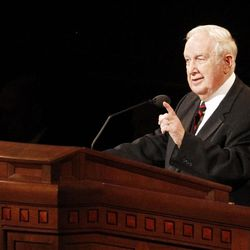 Richard G. Scott speaks during the 182nd Annual General Conference for The Church of Jesus Christ of Latter-day Saints at the LDS Conference Center in Salt Lake City on Saturday, March 31, 2012.