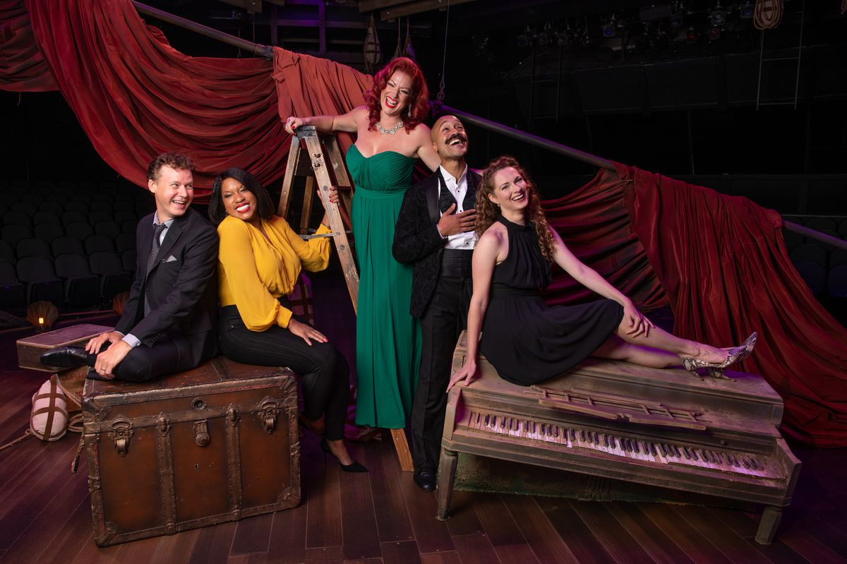 """Kevin Earley (from left), Allison E. Blackwell, Meghan Murphy, Joseph Anthony Byrd, Amanda Rose are featured in """"The World Goes Round"""" at the Marriott Theatre in Lincolnshire."""