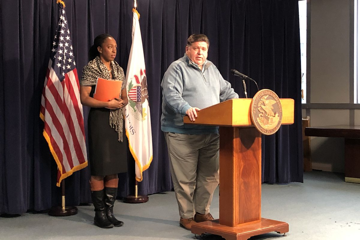 Gov. J.B. Pritzker and Dr. Ngozi Ezike, director of the Illinois Department of Public Health, discuss the state's third and fourth confirmed cases of coronavirus on Monday in Chicago.