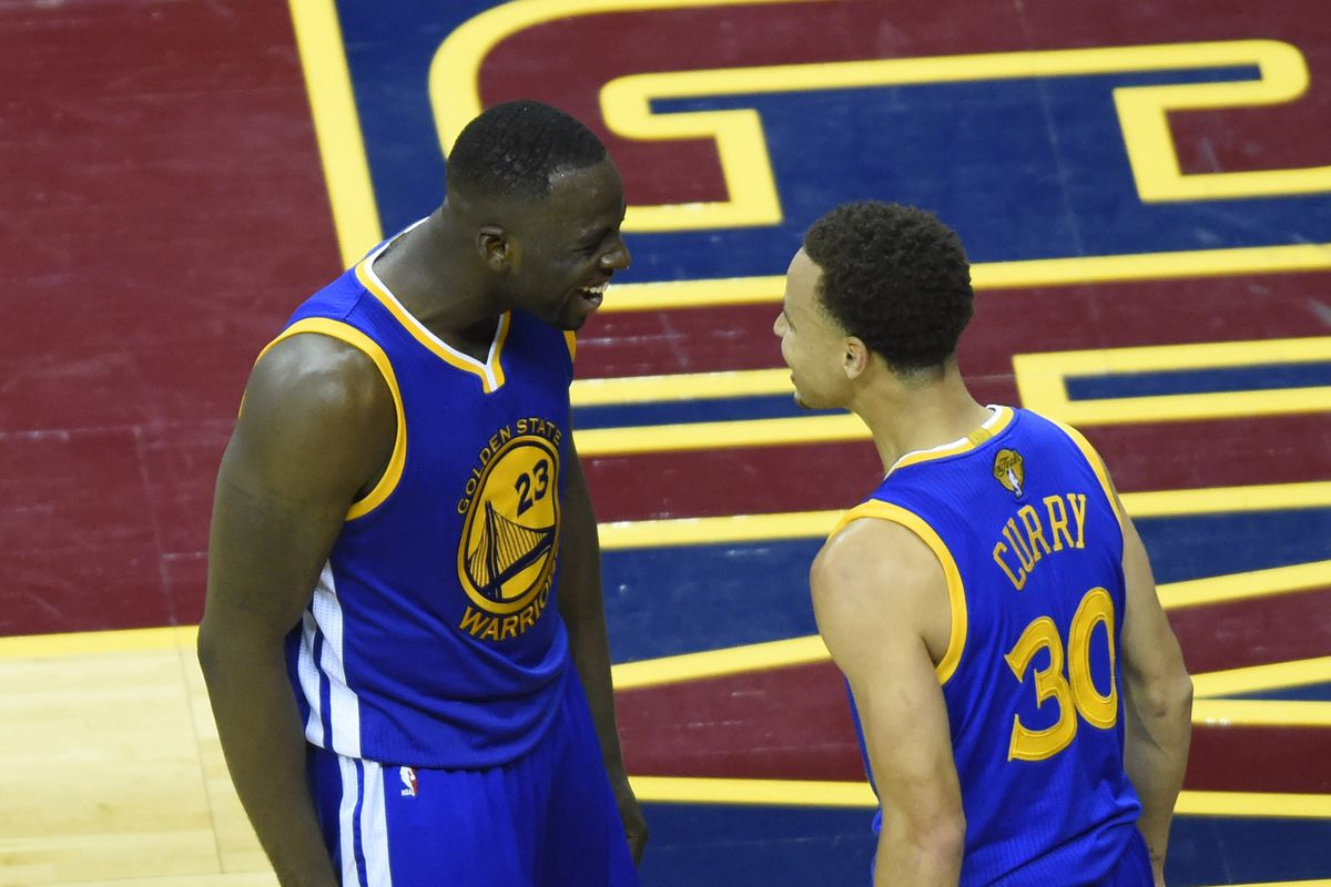 Draymond and Stephen sharing a moment during their last visit to Quicken Loans Arena.
