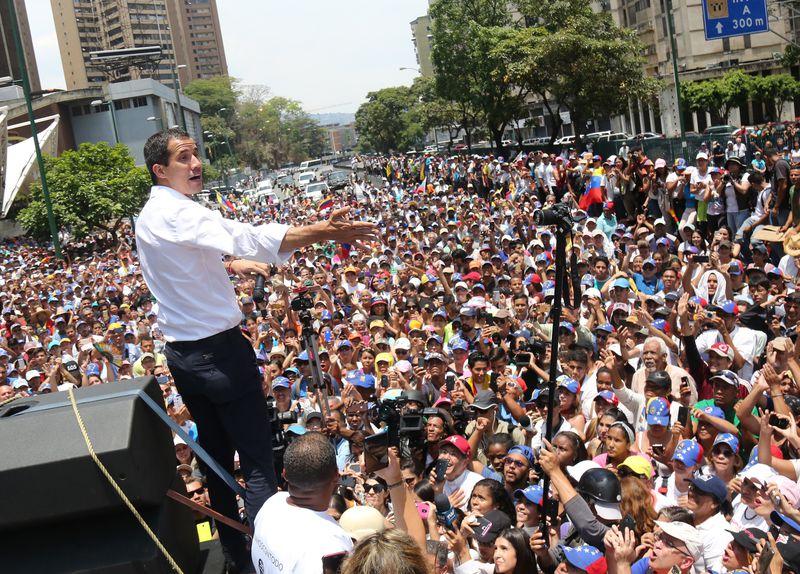 Venezuela's US-recognized interim president Juan Guaidó speaks during a demonstration in Caracas, Venezuela on May 1, 2019.