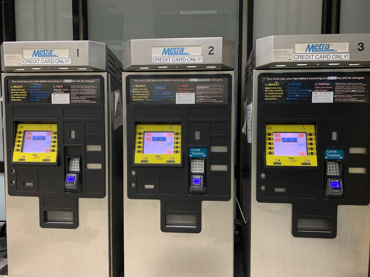 Metra ticket-vending machines at Union Station.