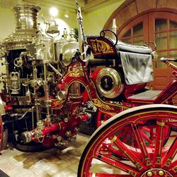Although post-dating the pioneer era, a bright-red and shiny horse-drawn steam fire engine from 1902 is one of Pioneer Memorial Museum's most popular attractions, on display in the Carriage House.
