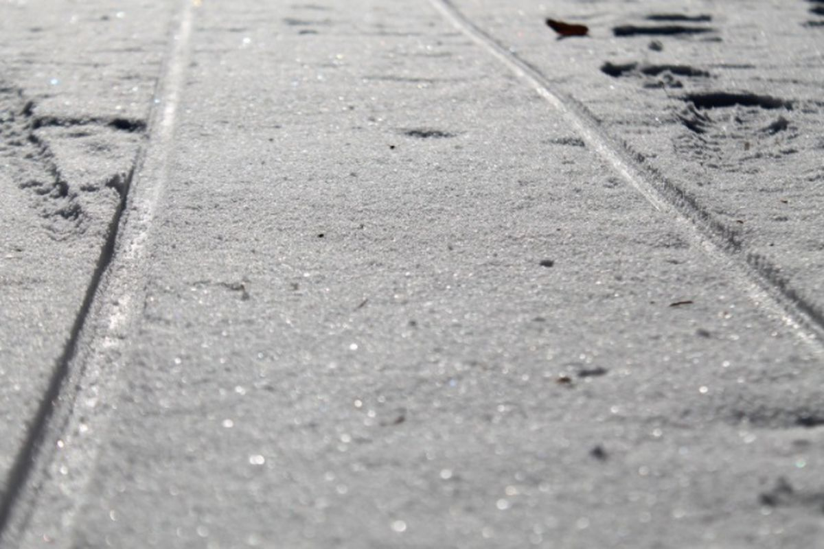 Frost covering light rail tracks in a street.