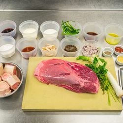 The Ingredients: (top row l-r) Ramp jus, red wine, cream, milk, ramp tops, veal stock, olive oil, canola oil. <br> (second row  l-r) Brioche, sugar, beef stock, ramp bulbs, diced ramps, pepper, ketchup, agar, paprika, onion powder, mustard powder, garlic