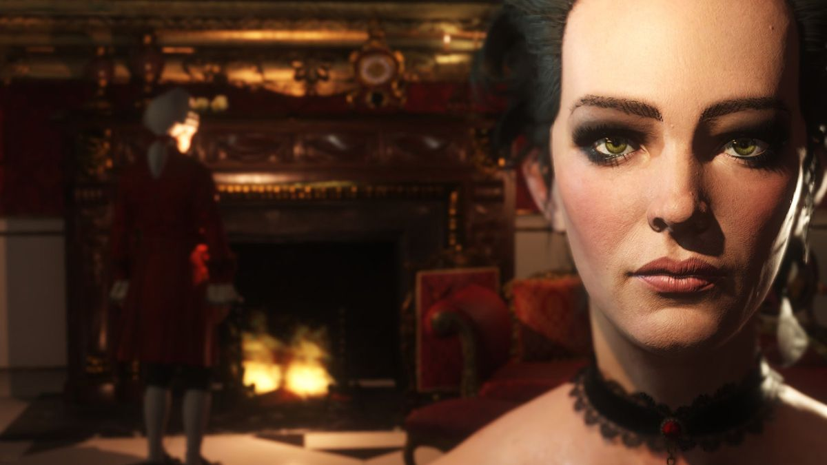 The Council - close-up of fancy lady Emily Hillsborrow with man standing by fireplace in the background