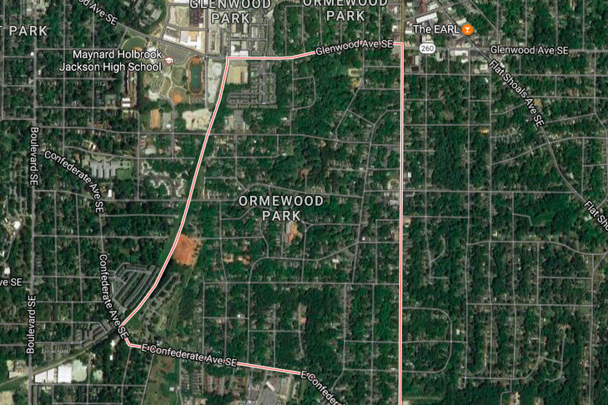 2016 satellite imagery of Ormewood Park, with the Beltline outlined at left.