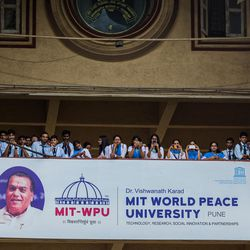 Guest listen as Elder D. Todd Christofferson, a member of the Quorum of Twelve Apostles for The Church of Jesus Christ of Latter-day Saints, speaks during the 71st Independence Day celebrations at the MIT World Peace university in Pune, Maharashtra, India on August 15, 2017.