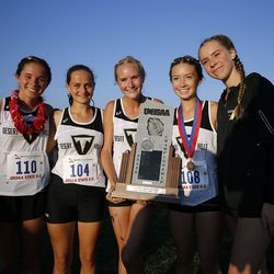 Desert Hills High School places second in the 4A state girls high school cross-country championship in Cedar City on Wednesday, Oct. 21, 2020.