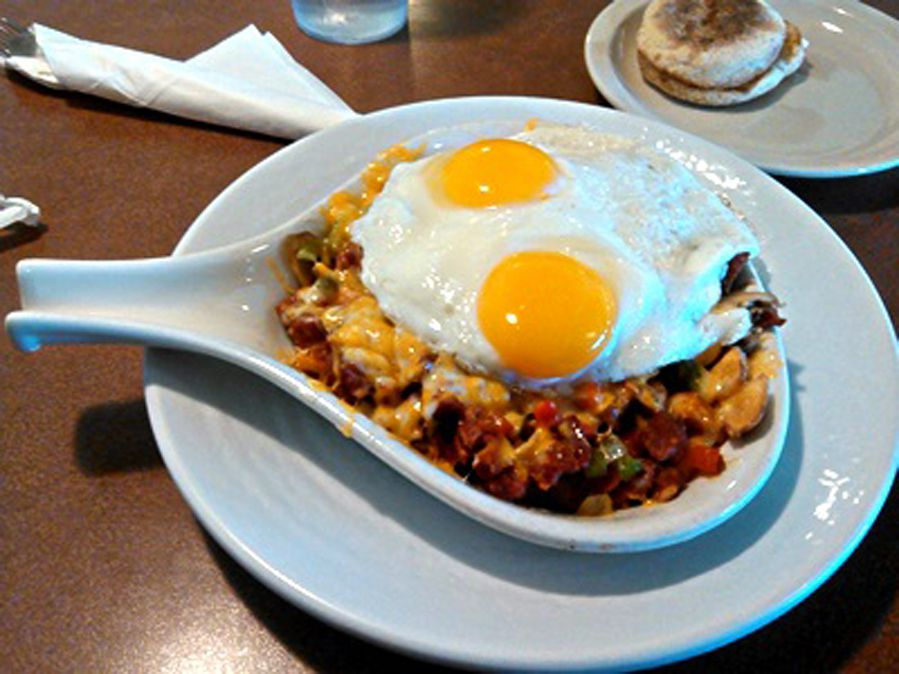 An egg skillet breakfast on the menu at five locations of The Cracked Egg.
