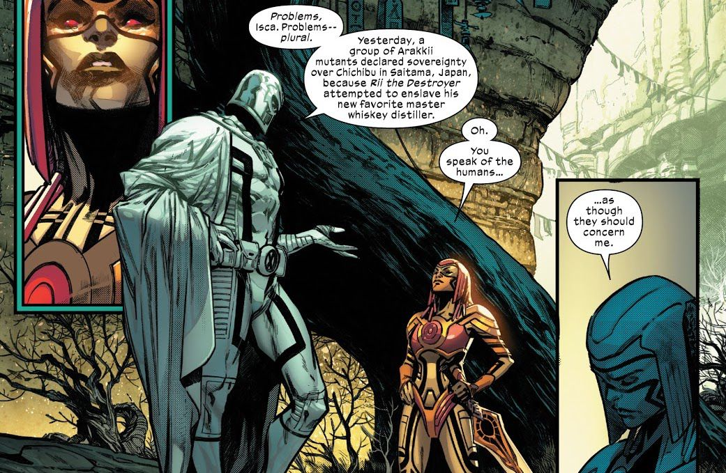 """Magneto chides Isca the Arakki leader, for allowing some of her mutants to declare sovereignty over part of a city in Japan just because they wanted to enslave a whiskey distiller. """"Oh,"""" she responds, """"You speak of the humans... as though they should concern me,"""" in Planet-size X-Men #1 (2021)."""