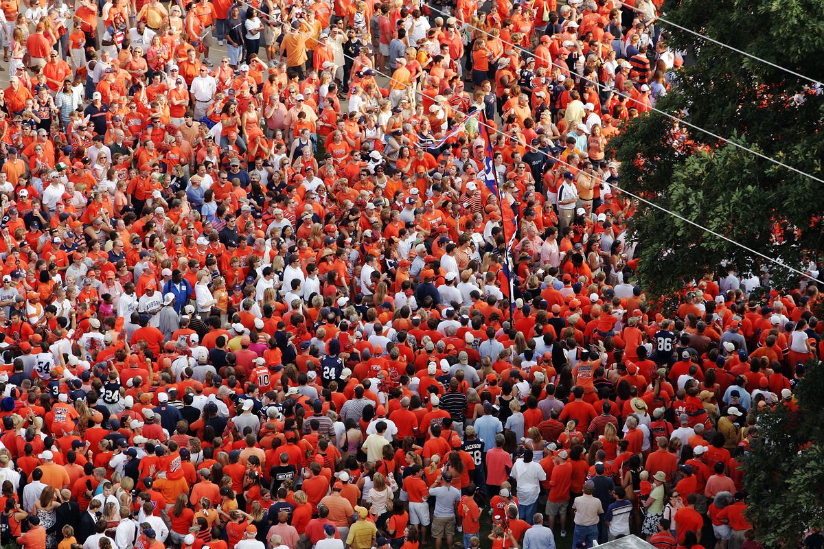 Look at all the orange there for Tiger Walk!
