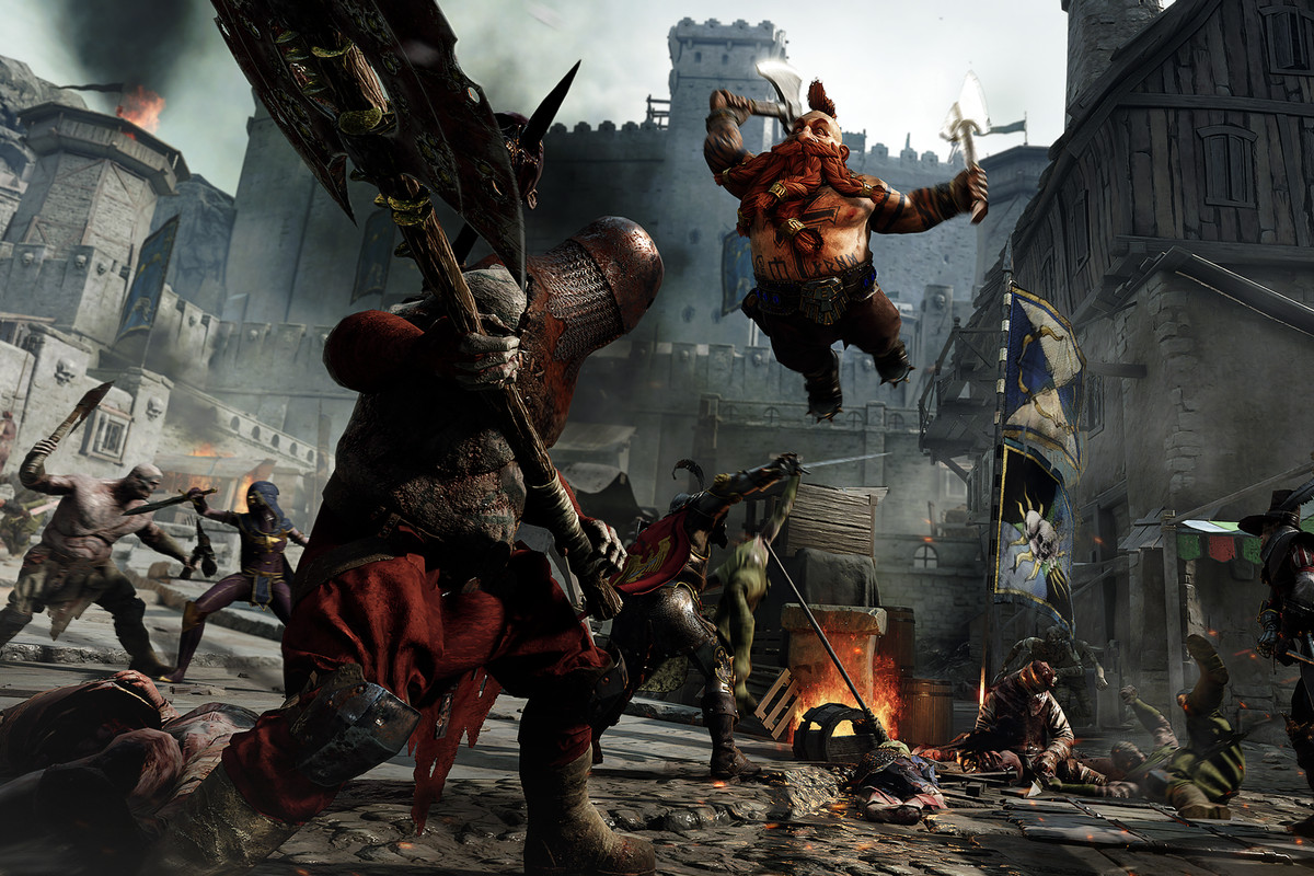 Warhammer: Vermintide 2 - a Dwarf slayer ruthlessly attacks a soldier of Chaos with two axes in the middle of a heated battle in a fantasy city.