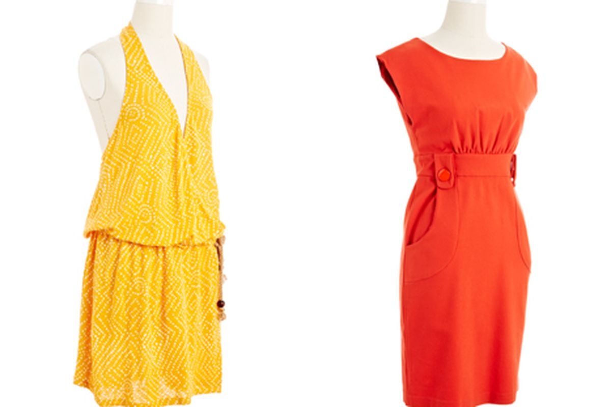 Left, DVF dress; Right, Tibi dress. Both will be $25 at the Nifty Thrifty sale.