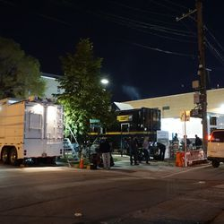 Broadcast lot on Waveland is full, so TV production trucks must also park along Clifton Avenue