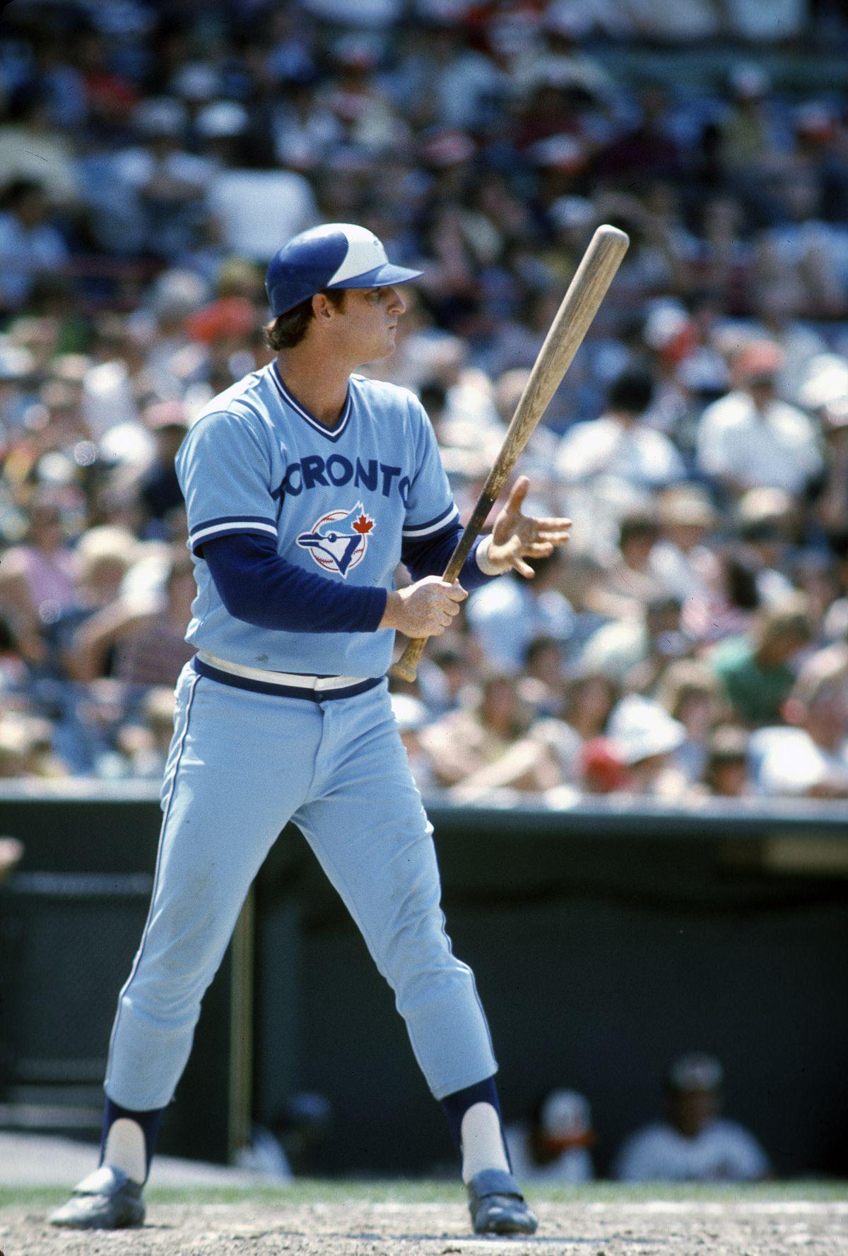 Blue Jays third baseman Doug Rader readies to swing the bat in 1977.