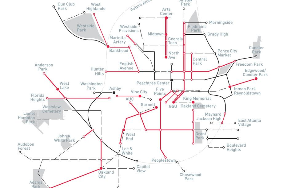 A map shows where city officials plan to install bike lanes and other alternative transportation infrastructure in the future.