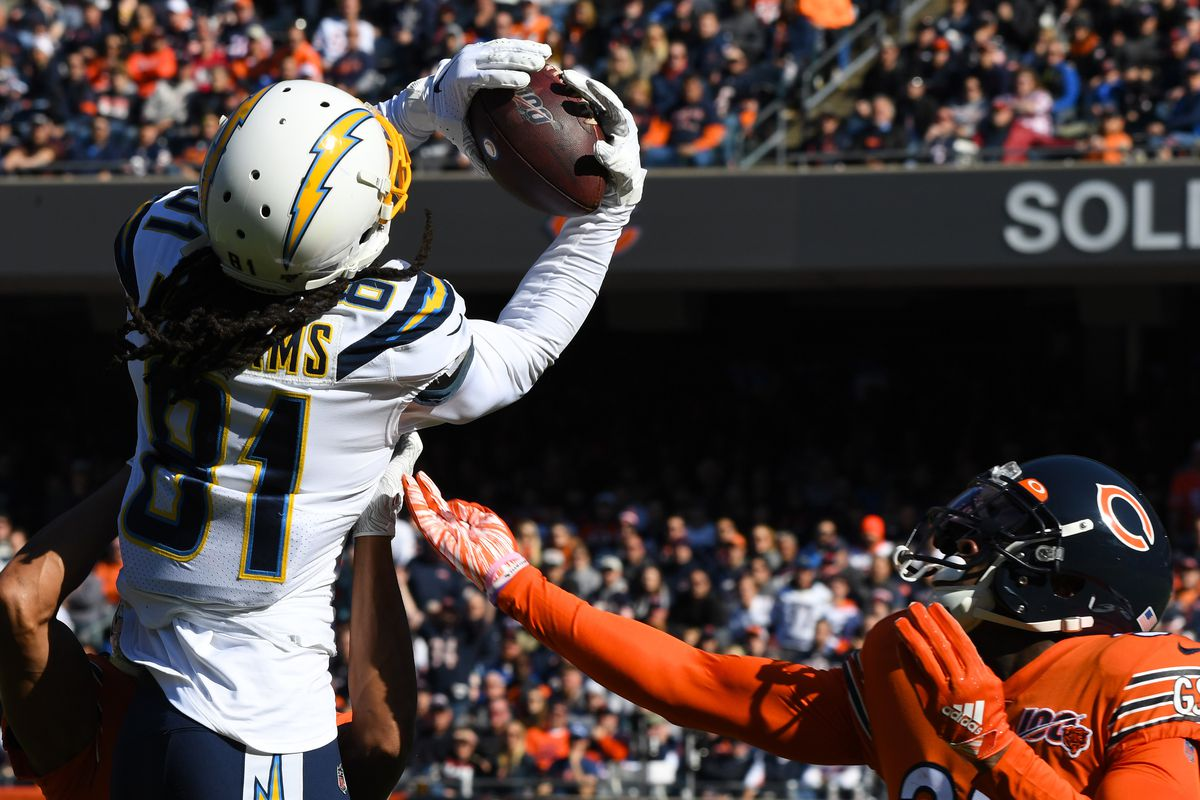 Los Angeles Chargers wide receiver Mike Williams makes a catch over Chicago Bears free safety Eddie Jackson during the second quarter at Soldier Field.